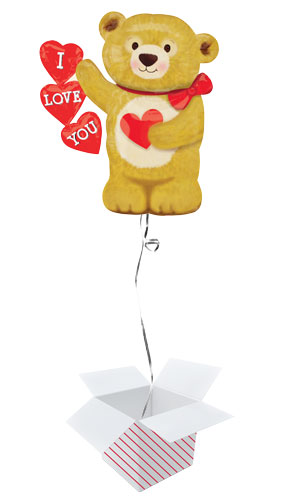 Love Bear Hearts Valentines Day Helium Foil Giant Balloon - Inflated Balloon in a Box Product Image