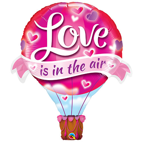 Love Is In The Air Valentines Day Helium Foil Giant Qualatex Balloon 107cm / 42 in Product Image