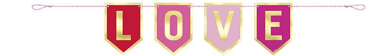 Valentines Foil Love Cardboard Banner 91cm