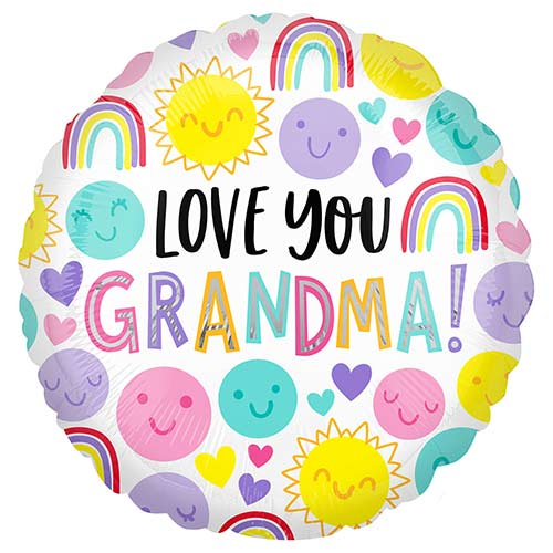 Love You Grandma Round Foil Helium Balloon 43cm / 17 in Product Image