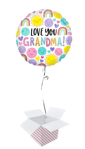 Love You Grandma Round Foil Helium Balloon - Inflated Balloon in a Box