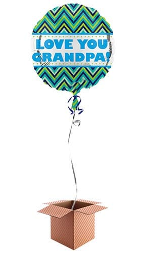 Love You Grandpa Round Foil Balloon - Inflated Balloon in a Box Product Image