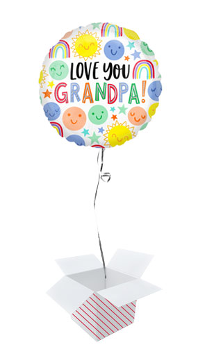 Love You Grandpa Smiles Round Foil Helium Balloon - Inflated Balloon in a Box Product Image