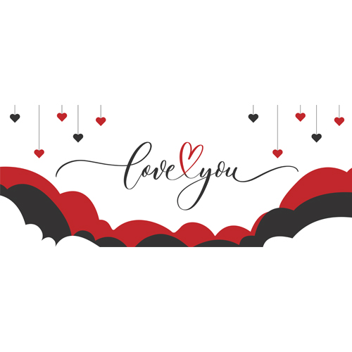 Love You Hearts and Clouds Valentine's Day PVC Party Sign Decoration 60cm x 25cm Product Image