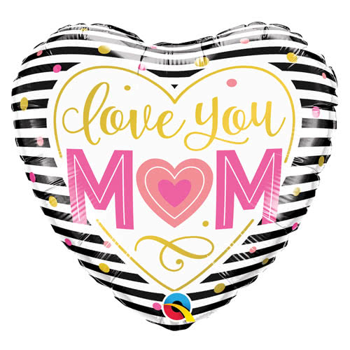 Love You Mom Heart Helium Foil Qualatex Balloon 46cm / 18Inch Product Image