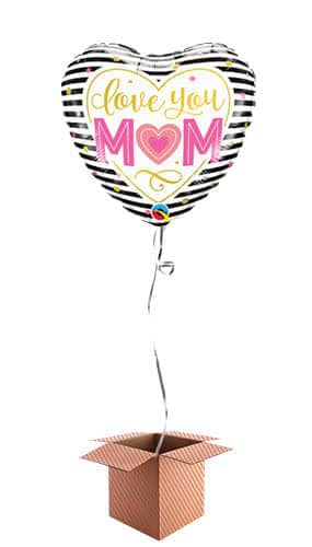 Love You Mom Heart Helium Foil Qualatex Balloon - Inflated Balloon in a Box