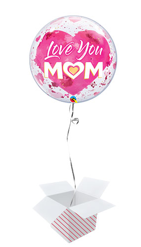 Love You Mom Heart Pink Bubble Helium Qualatex Balloon - Inflated Balloon in a Box Product Image