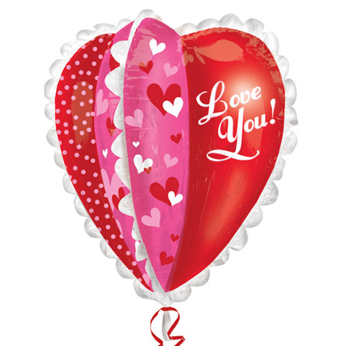 Love You Multi-Panel Heart Helium Foil Giant Balloon 76cm / 30 in Product Image