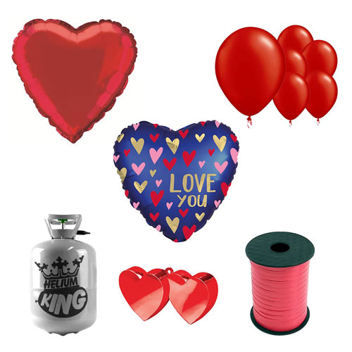 Love You Navy Valentine's Day Small Helium Gas Package With Balloons