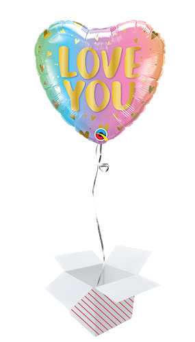 Love You Ombre Valentine's Day Foil Helium Qualatex Balloon - Inflated Balloon in a Box