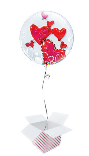 Lovely Floating Hearts Valentine's Day Double Bubble Helium Qualatex Balloon - Inflated Balloon in a Box Product Image