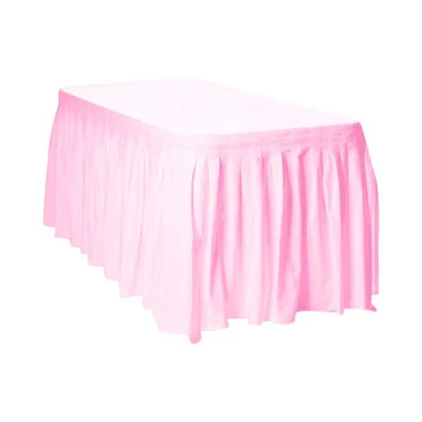 Lovely Pink Plastic Table Skirt - 426cm x 73cm Product Image