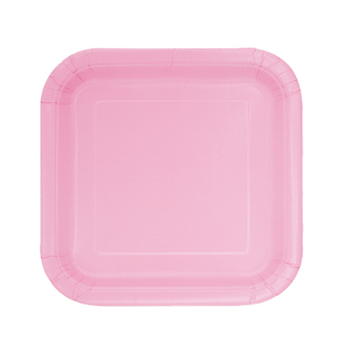 Lovely Pink Square Paper Plates 17cm - Pack of 16