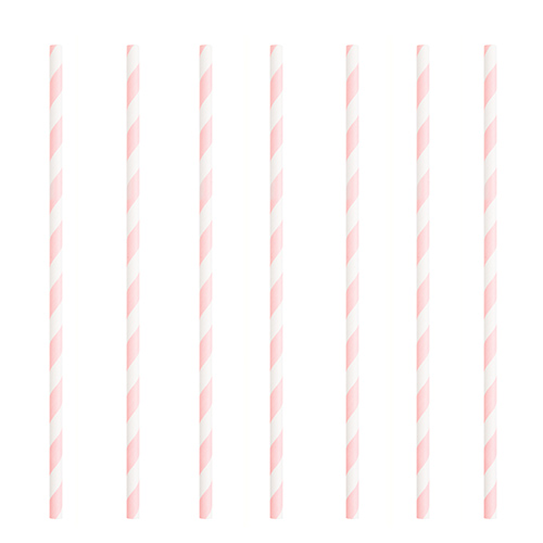Lovely Pink Striped Eco-Friendly Paper Straws - Pack of 10