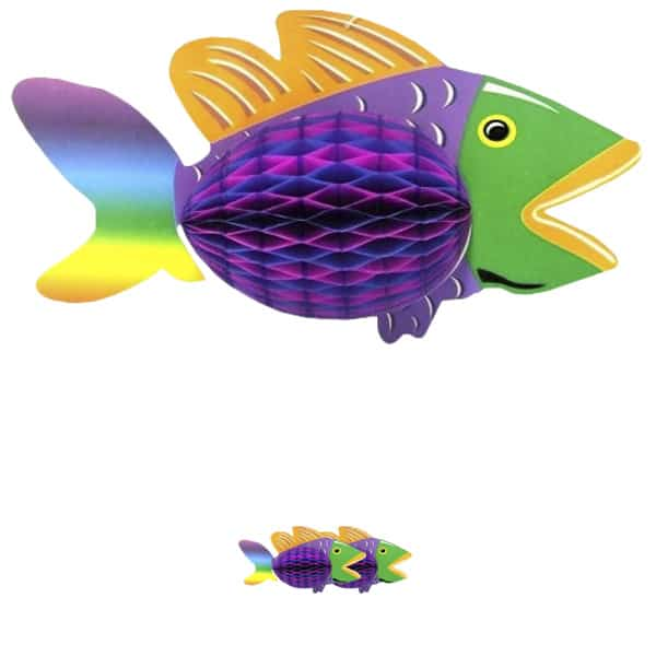 Luau Honeycomb Tropical Fish Hanging Decoration - 12 Inches / 30cm - Pack of 3