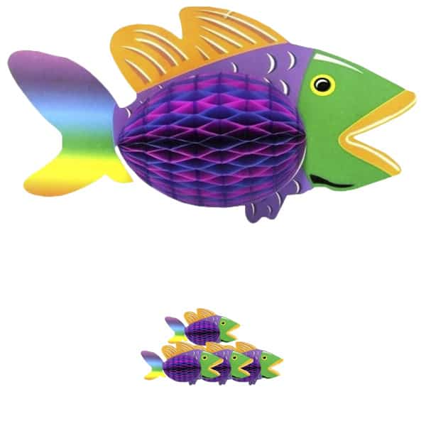 Luau Honeycomb Tropical Fish Hanging Decoration - 12 Inches / 30cm - Pack of 5
