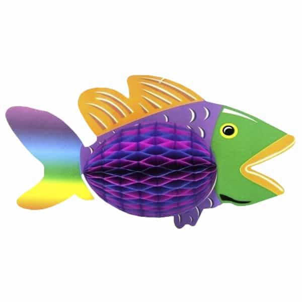 Luau Honeycomb Tropical Fish Hanging Decoration - 12 Inches / 30cm