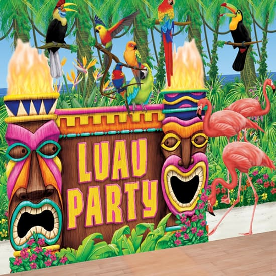 Luau Party Backdrop Scene Setter Room Roll and Add-Ons Decorating Kit Product Image
