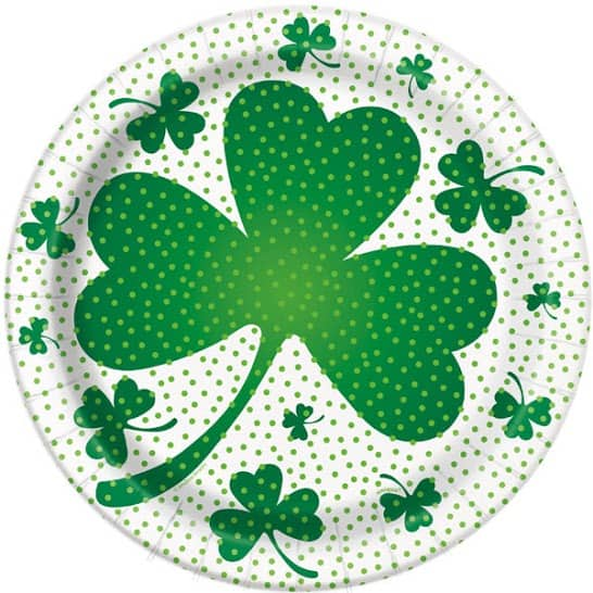 Lucky Shamrock Round Paper Plate 22cm