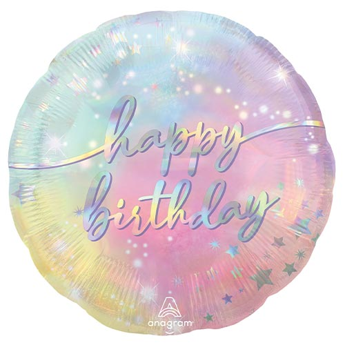 Luminous Happy Birthday Round Foil Helium Balloon 43cm / 17 in