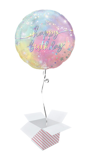 Luminous Happy Birthday Helium Foil Giant Balloon - Inflated Balloon in a Box Product Image