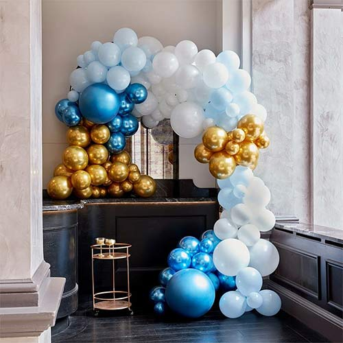Luxurious Blue & Gold DIY Garland Balloon Arch Kit