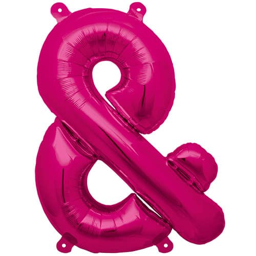 Magenta Ampersand Air Fill Foil Balloon 41cm / 16Inch Product Image
