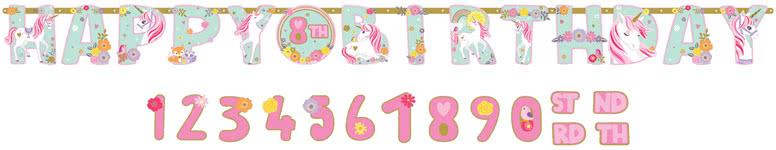 Magical Unicorn Add An Age Jumbo Letter Banner 320cm