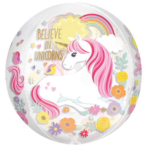 Magical Unicorn Orbz Foil Helium Balloon 38cm / 15 in Product Gallery Image