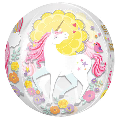 Magical Unicorn Orbz Foil Helium Balloon 38cm / 15 in Product Image
