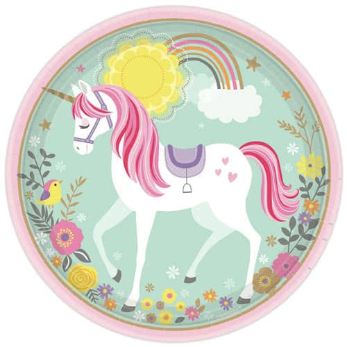Magical Unicorn Round Paper Plates 23cm - Pack of 8 Product Image