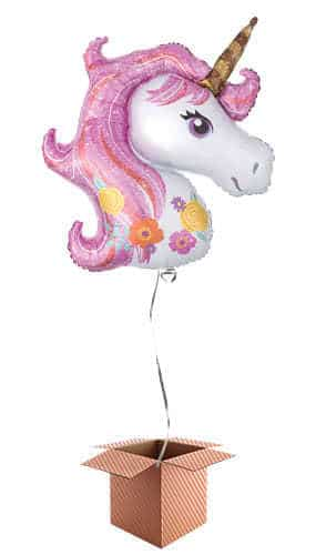 Magical Unicorn Helium Foil Giant Balloon - Inflated Balloon in a Box