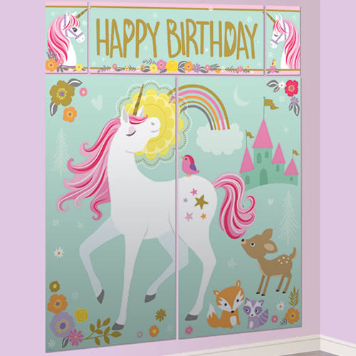 Magical Unicorn Wall Decoration Kit With Photo Props - Pack of 17