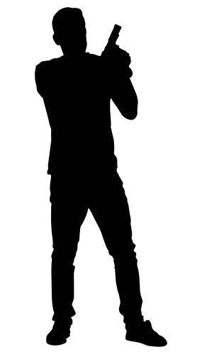 Man With Gun By Shoulder Silhouette PVC Lifesize Poster 182cm