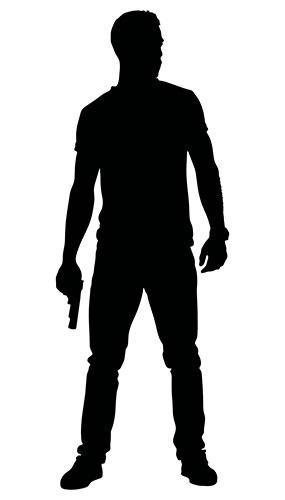 Man With Gun By Thigh Silhouette PVC Lifesize Poster 182cm