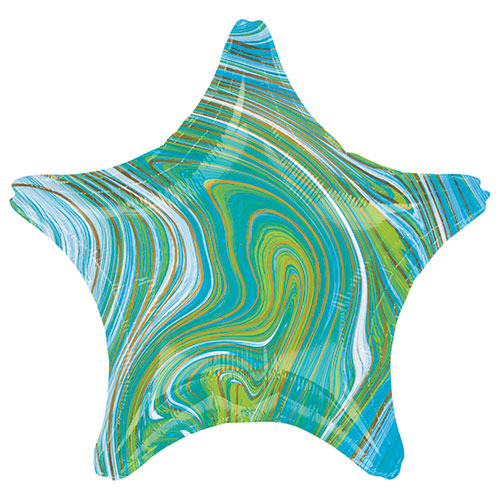 Marblez Blue Green Star Shape Foil Helium Balloon 48cm / 19 in Product Image
