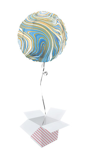 Marblez Blue Round Foil Helium Balloon - Inflated Balloon in a Box