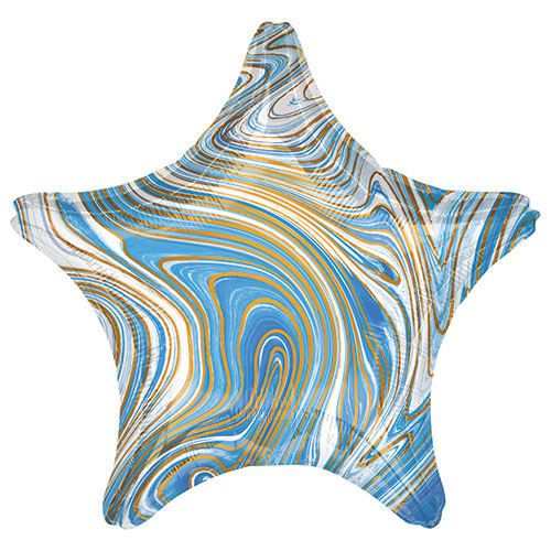 Marblez Blue Star Shape Foil Helium Balloon 48cm / 19 in Product Image