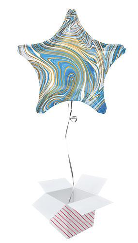 Marblez Blue Star Shape Foil Helium Balloon - Inflated Balloon in a Box