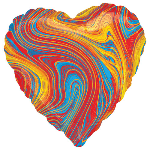 Marblez Colourful Heart Shape Foil Helium Balloon 43cm / 17 in Product Image