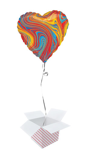 Marblez Colourful Heart Shape Foil Helium Balloon - Inflated Balloon in a Box Product Image