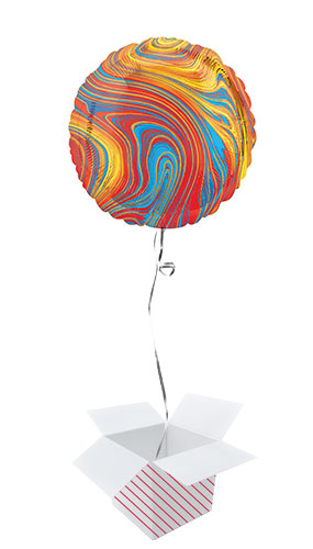 Marblez Colourful Round Foil Helium Balloon - Inflated Balloon in a Box Product Image