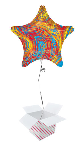 Marblez Colourful Star Shape Foil Helium Balloon - Inflated Balloon in a Box Product Image
