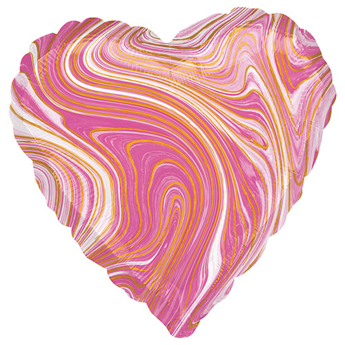 Marblez Pink Heart Shape Foil Helium Balloon 43cm / 17 in Product Image