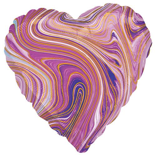 Marblez Purple Heart Shape Foil Helium Balloon 43cm / 17 in Product Image