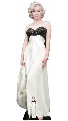 Marilyn Monroe White Gown and Fur Lifesize Cardboard Cutout 169cm Product Image