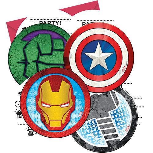 Marvel Avengers Invitations with Envelopes - Pack of 6