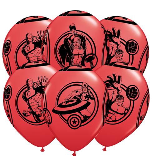 Marvel Avengers Latex Helium Qualatex Balloons 30cm / 12 Inch - Pack of 6