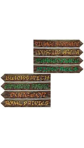 Medieval Street Signs Decorative Cutouts - 24 Inches / 61cm - Pack of 4 Product Image