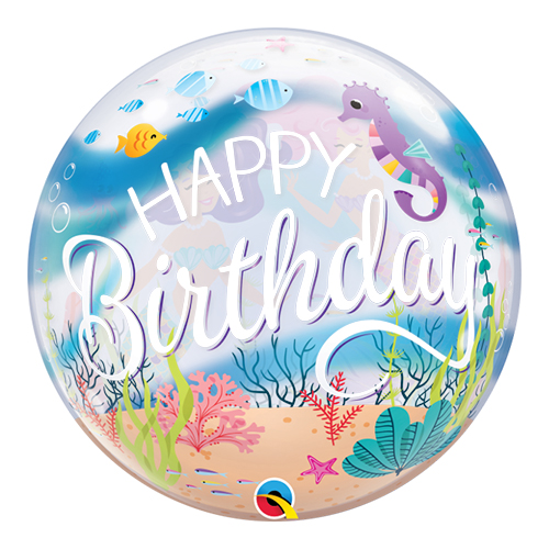 Mermaid Birthday Party Bubble Helium Qualatex Balloon 56cm / 22 in Product Image